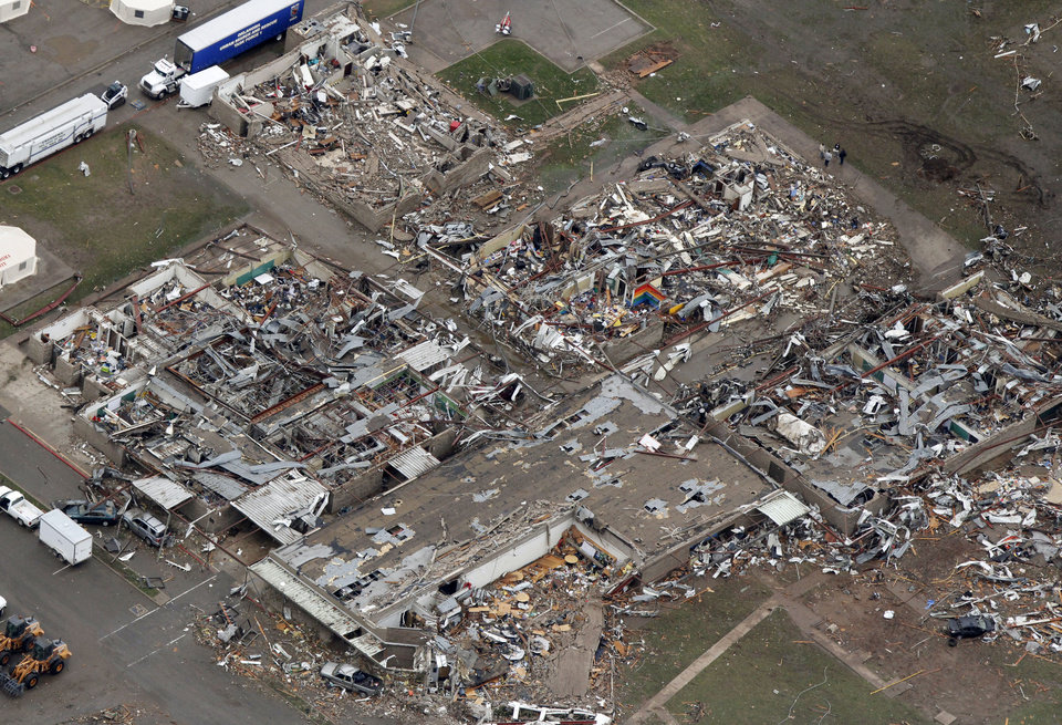 Photo - Briarwood Elementary School was destroyed by the May 20th tornado in Moore, OK, Tuesday, May 21, 2013,  By Paul Hellstern, The Oklahoman