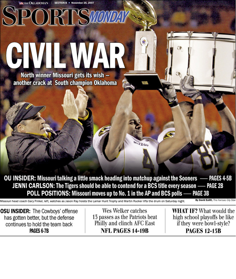Photo - Graphic:  Civil War:  North winner Missouri gets its wish - another crack at South champion Oklahoma.... UNIVERSITY OF OKLAHOMA UNIVERSITY OF MISSOURI COLLEGE FOOTBALL