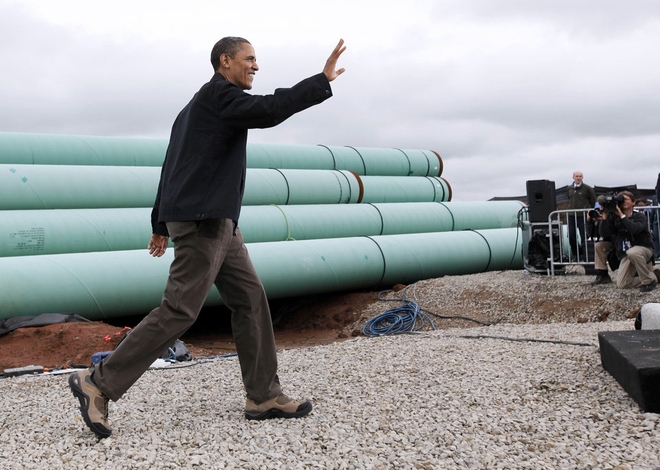 President Barack Obama waves to the crowd as he arrives March 22 at the TransCanada Pipe Yard near Cushing.  Photo by Nate Billings, The Oklahoman Archives