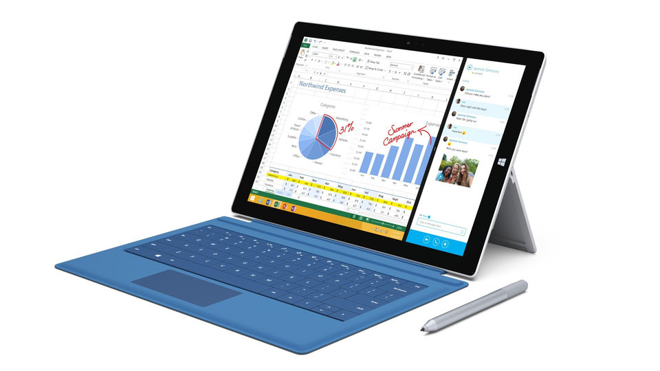 Photo - This product image provided by Microsoft shows the Surface Pro 3. The device has a screen measuring 12 inches diagonally, up from 10.6 inches in previous models. Microsoft says it's also thinner and faster than before. (AP Photo/Microsoft)