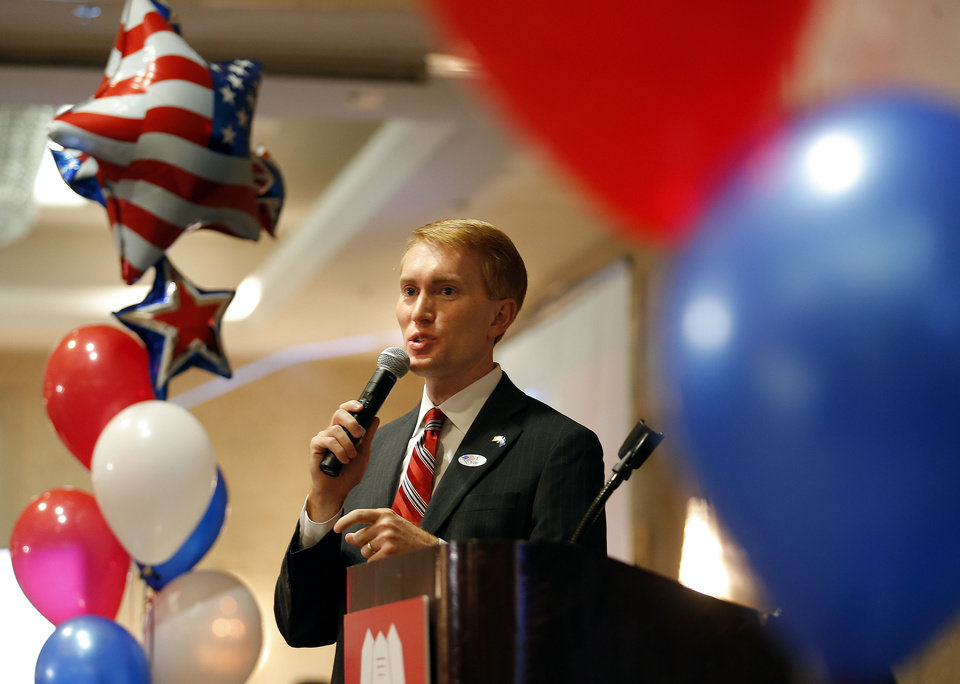 Photo - Rep. James Lankford speaks during the Oklahoma GOP watch party in Oklahoma City,  Tuesday, Nov. 6, 2012. Photo by Sarah Phipps, The Oklahoman