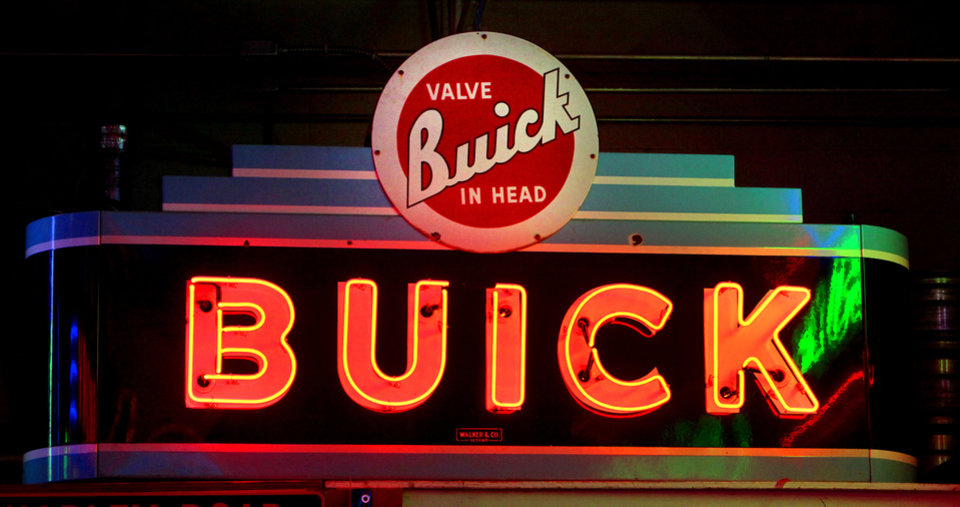 This Buick sign is in a private collection but represents the type that organizers would like to be on display in a  billboard and sign museum project in Bethany. Photo By David McDaniel, The Oklahoman <strong>David McDaniel - The Oklahoman</strong>