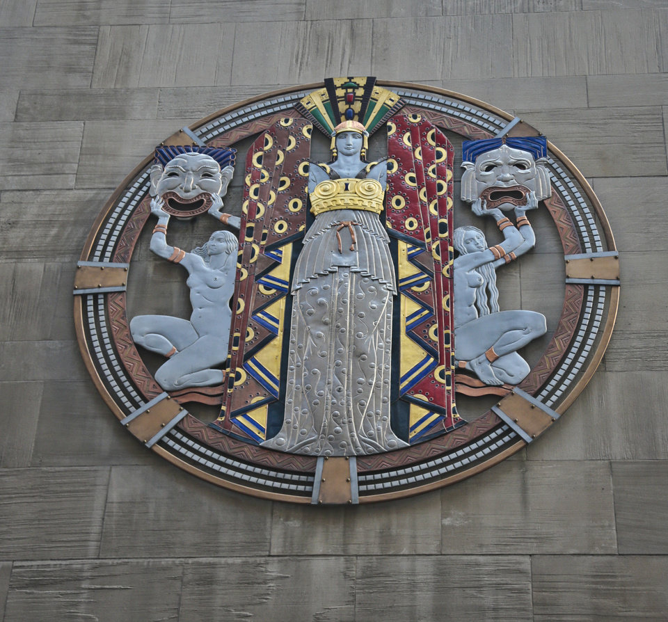 """In this March 24, 2014 photo, the colossal metal-and-enamel roundel created by art deco muralist Hildreth Meiere  stands out on the facade of Radio City Music Hall  in New York.  """"The Art Deco Murals of Hildreth Meiere,"""" a new book on the trail-blazing muralist who completed over 100 commissions in 16 states before her death in 1961, is set for May 1. (AP Photo/Bebeto Matthews)"""