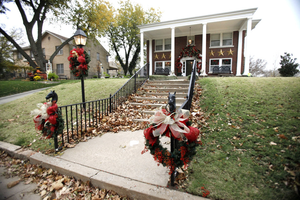 This is the home of Bruce Hall and Mike Stuart  at 1221 N Miller Boulevard in Oklahoma City, OK, Monday, Nov. 21, 2011. It is decorated for the Miller Mantel tour. By Paul Hellstern, The Oklahoman