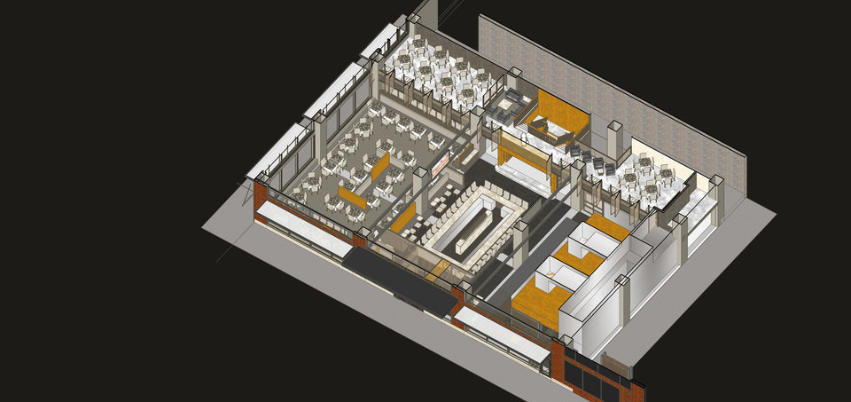 Photo -  The layout of the chophouse is seen in this rendering. Drawing provided