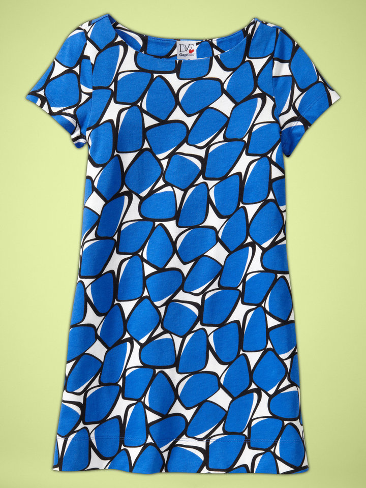 In this product image released by GapKids + DVF, a girls' T-shirt dress in blue and white is shown.  The item is part of the GapKids + DVF collection exclusively for girls ranging from newborn to age  14.  AP Photo/GapKids + DVF <strong> - AP</strong>