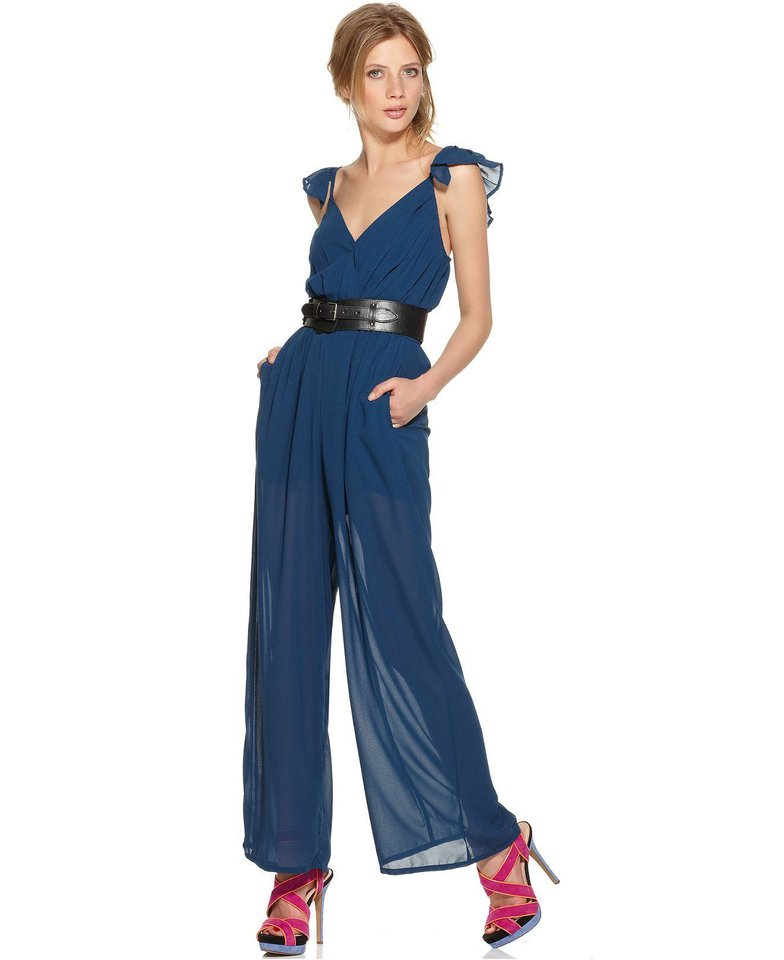 Photo - Follow the style of actress Maggie Gyllenhaal who stands out on the red carpet with color combinations and minimal accessories. This jumpsuit is from Bar III ($49.99 at Macys.com). (Macys.com/Los Angeles Times/MCT)