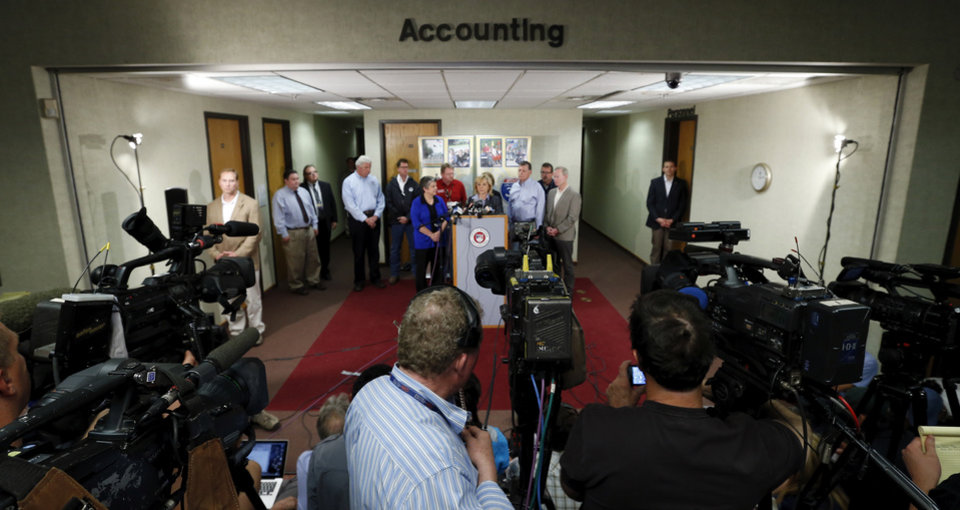 Governor Marry Fallin and others address the media converning Monday\'s tornado damage on Wednesday, May 22, 2013 in Moore, Okla. Photo by Steve Sisney, The Oklahoman