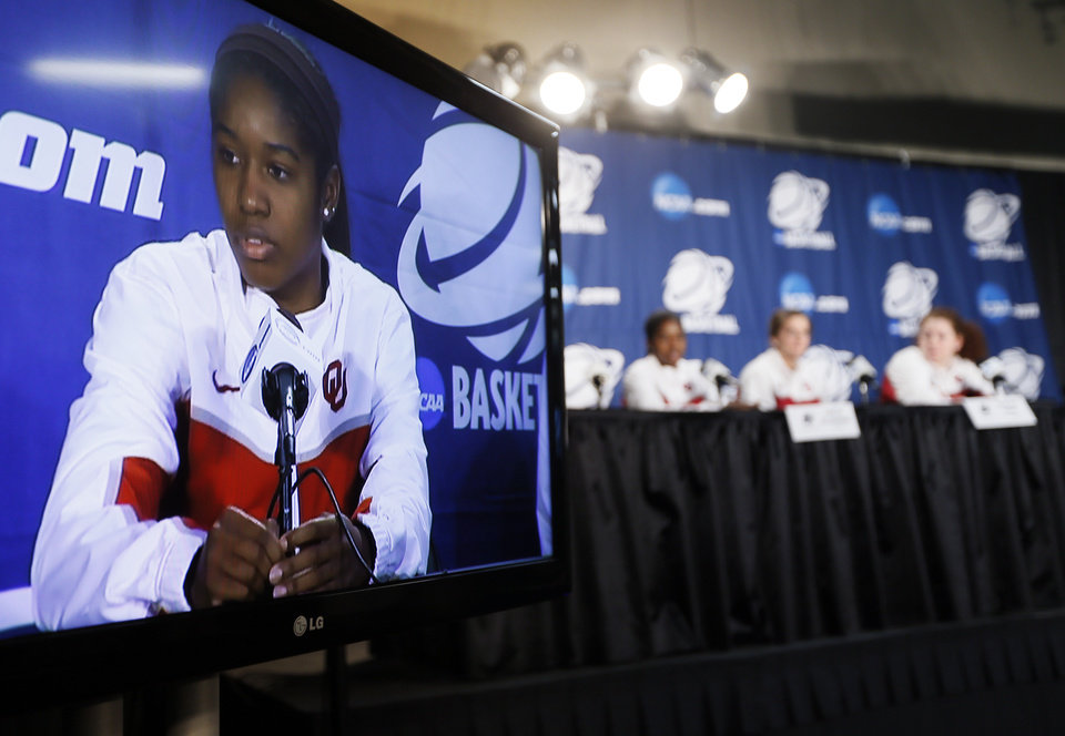 Photo - OU's Aaryn Ellenberg (3) answers a question from the media during the press conference and practice day at the Oklahoma City Regional for the NCAA women's college basketball tournament at Chesapeake Energy Arena in Oklahoma City, Saturday, March 30, 2013. Photo by Nate Billings, The Oklahoman