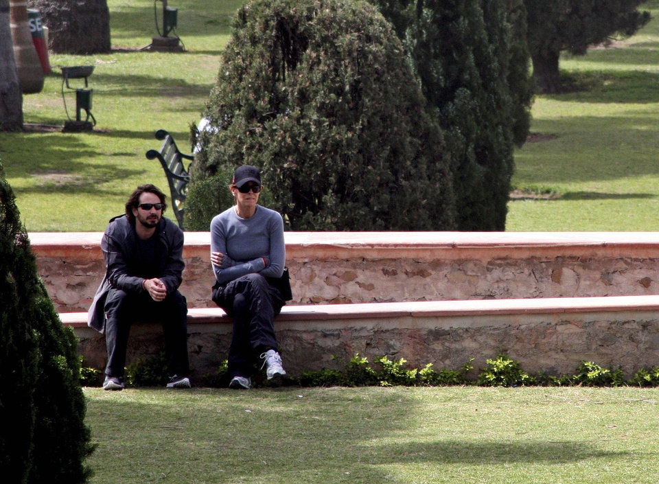 FILE - In this March 22, 2012 file photo, Oscar winning director Kathryn Bigelow, right, sits with American producer and journalist Mark Boal, on the set of her upcoming film about Osama bin Laden,