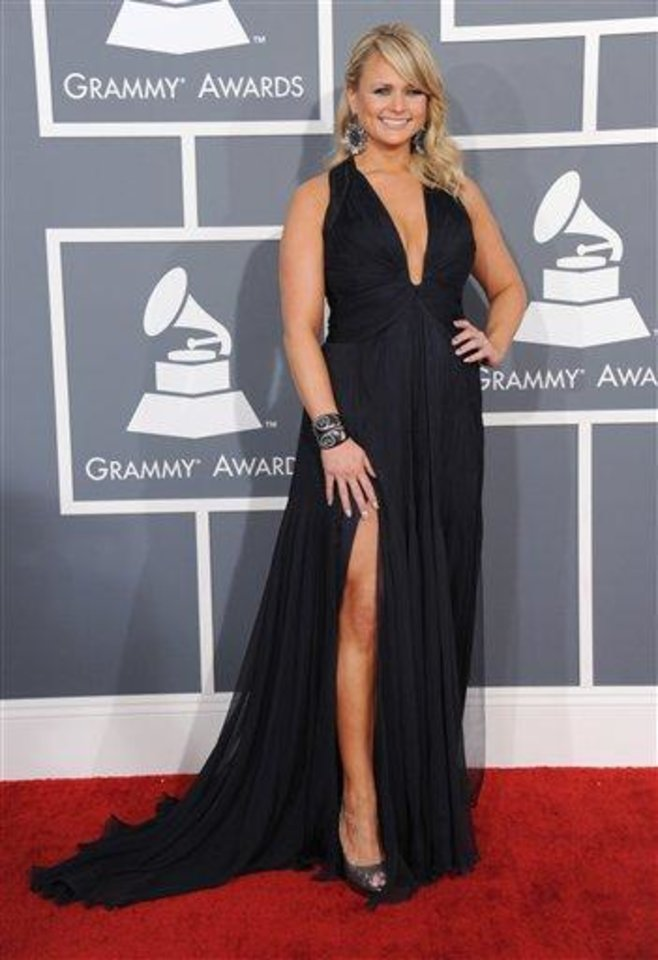 Miranda Lambert arrives at the 55th annual Grammy Awards on Sunday, Feb. 10, 2013, in Los Angeles.  (Photo by Jordan Strauss/Invision/AP)