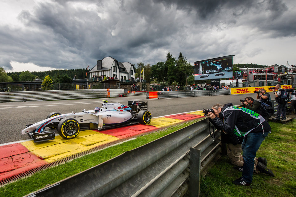 Photo - Williams driver Valtteri Bottas of Finland steers his car during the second practice session ahead of Sunday's Belgian Formula One Grand Prix in Spa-Francorchamps, Belgium, Friday, Aug. 22, 2014. (AP Photo/Geert Vanden Wijngaert)