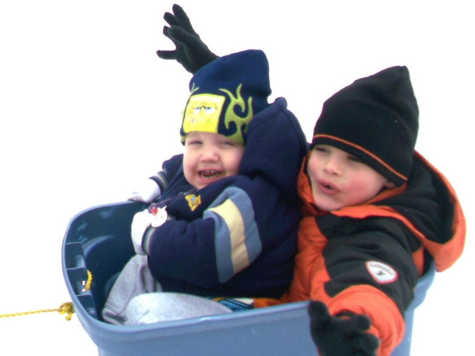 Babies first ice storm having fun with big brother<br/><b>Community Photo By:</b> Laura<br/><b>Submitted By:</b> Laura, Midwest City