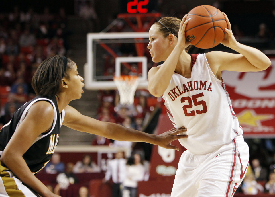 OU's Whitney Hand keeps the ball away from Missouri's Alyssa Hollins during a 2009 game in Norman. PHOTO BY NATE BILLINGS, The Oklahoman Archives