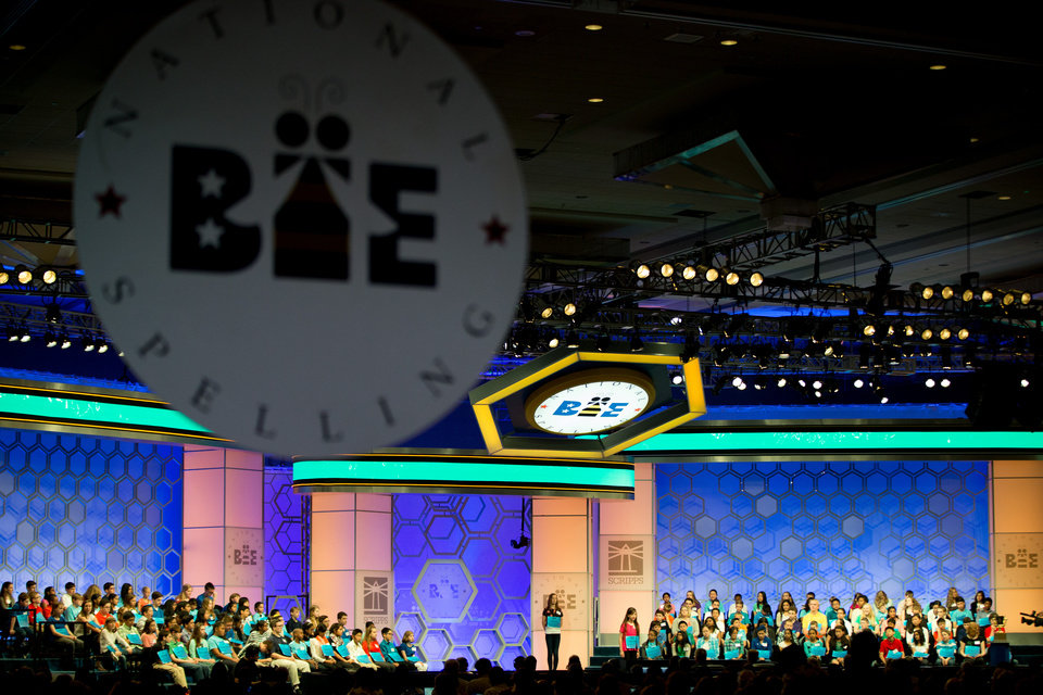 Photo - Spellers take the stage for the 2015 Scripps National Spelling Bee, Wednesday, May 27, 2015, in Oxon Hill, Md. (AP Photo/Andrew Harnik)