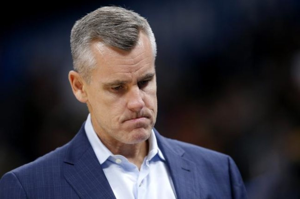 Photo -  Oklahoma City coach Billy Donovan did not see many positives in the Thunder's 107-70 preseason loss Monday night to the Dallas Mavericks at American Airlines Center. [Sarah Phipps/The Oklahoman]