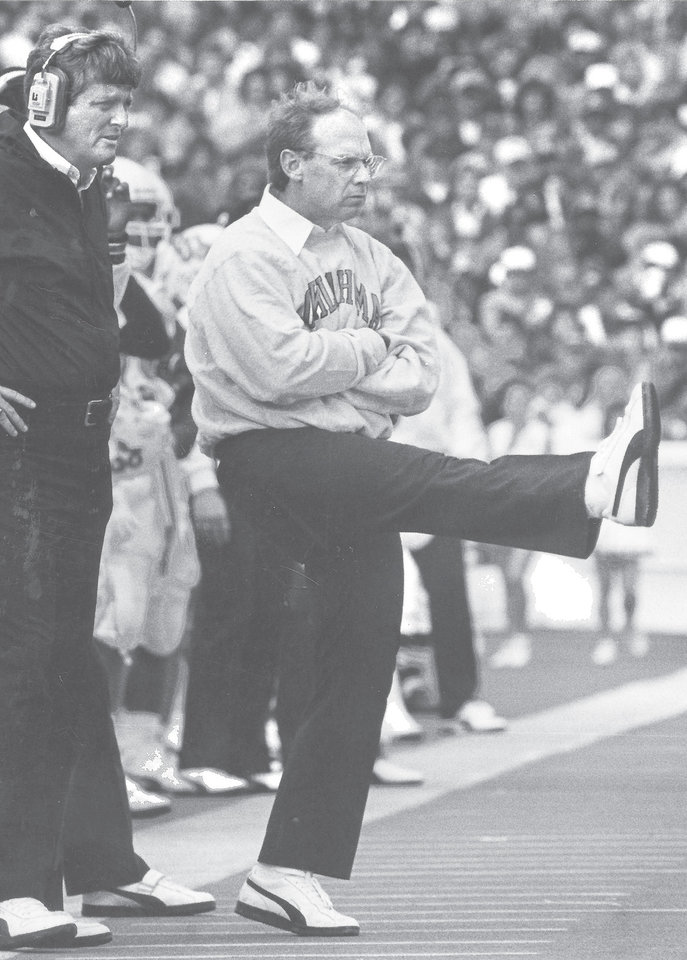 Photo - OSU head coach Pat Jones reacts after the Cowboys' defense blocks an extra point by OU's R.D. Lashar in the third quarter of the Bedlam college football game, Saturday, Nov. 7, 1987.  Staff Photo by Jim Argo