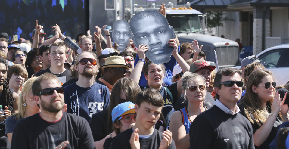 Photo - Oklahoma City Thunder fans cheer during a rally for Kevin Durant's MVP announcement at the Thunder Community Events Center in Edmond, Tuesday May 06, 2014. Photo By Steve Gooch, The Oklahoman
