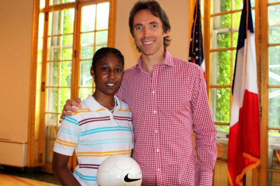 Photo - Rudy Crenshaw's participation in the Homeless World Cup led to her meeting Phoenix Suns point guard Steve Nash at the French embassy. Street Soccer USA awarded Nash with their Sport for Social Change Award.    - PHOTO PROVIDED BY STEPHANIE NORRIS