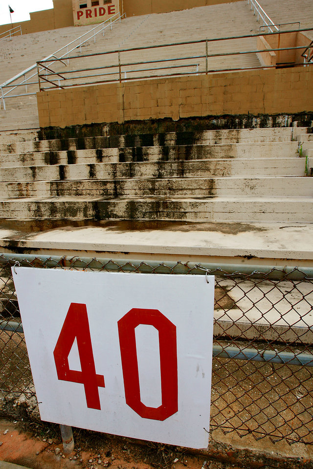 Photo - The deteriorating conditions of the historic Taft Stadium on Tuesday, July 3, 2007, in Oklahoma City, Okla.  staff photo by CHRIS LANDSBERGER  ORG XMIT: KOD