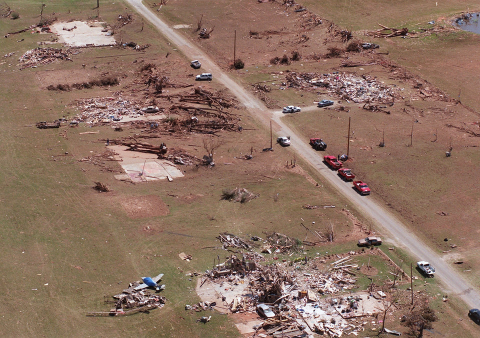 Tornado damage, Aerial view: One of the damaged areas in Bridge Creek where 11 people were killed by Monday's tornado.