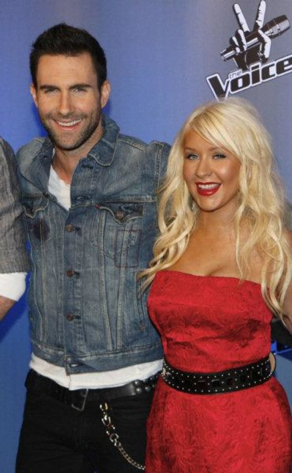 Photo - Maroon 5's Adam Levine and Christine Aguilera, coaches for the TV competition series