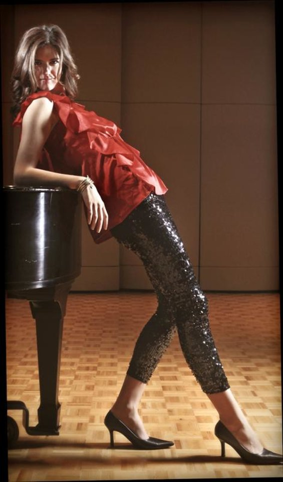 Karlie red ruffle top and sequin leggins from Allyson's Closet.  Photo by Chris Landsberger, The Oklahoman.