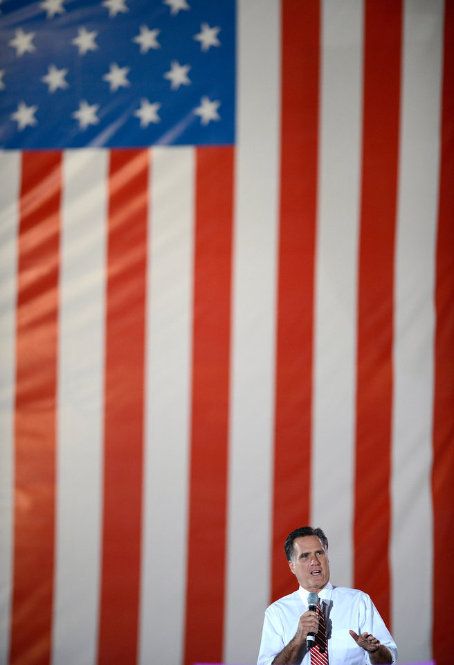 Republican presidential candidate, former Massachusetts Gov. Mitt Romney speaks with supporters during a campaign rally at the Augusta County Expoland in Fishersville, Va., on Thursday, Oct. 4, 2012. (AP Photo/The Daily News-Record, Stephen Mitchell)