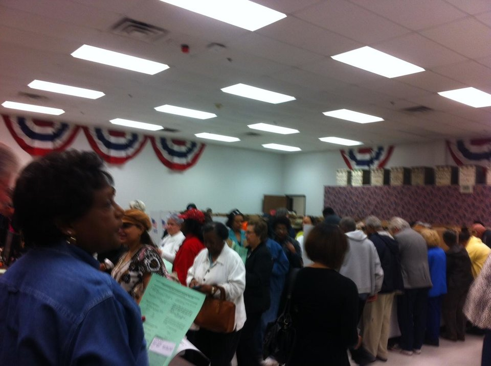 Photo - People line up to vote early at the Oklahoma County Election Board Friday morning. Photo by Robert Medley