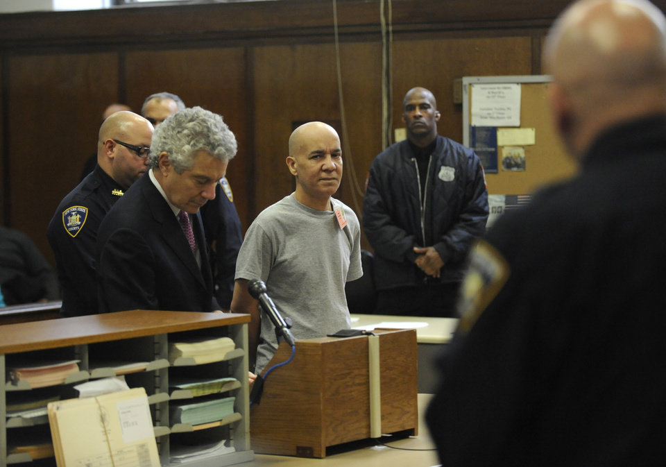 Pedro Hernandez appears in Manhattan criminal court with his attorney Harvey Fishbein, Wednesday, Nov. 15, 2012, in New York. Fishbein says his client will plead not guilty because he made a false confession. Hernandez is charged with 1979 killing of Etan Patz, his next court date is set for Dec. 12, when he'll have a chance to enter a plea. He is being held without bail. (AP Photo/Louis Lanzano, Pool)