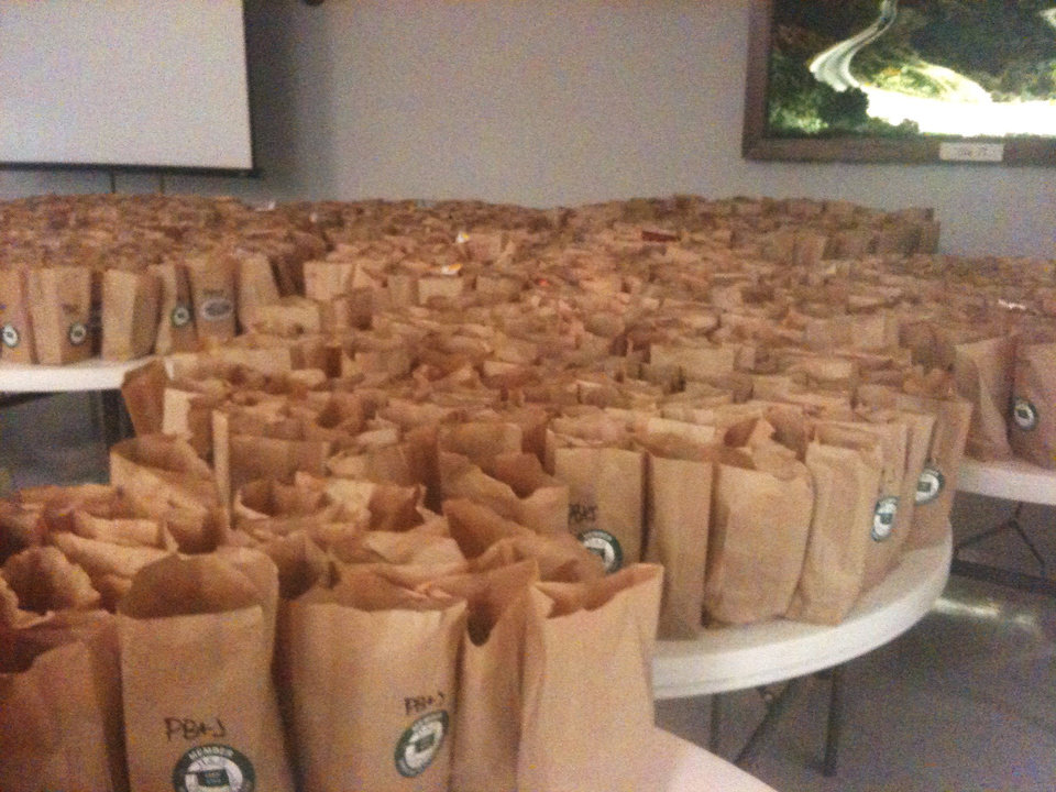 The small cafe at H & H Gun Range arranged to have 1,000 sandwiches packed and delivered in bags like these in Little Axe and Moore. PHOTO PROVIDED <strong></strong>