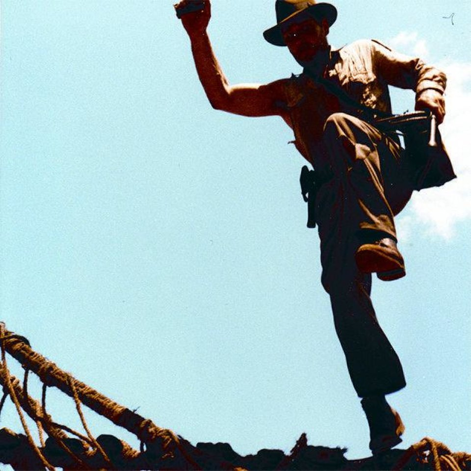 "Stunt man Vic Armstrong doubling for Harrison Ford in a scene from ""Indiana Jones and the Temple of Doom."" PARAMOUNT PICTURES PHOTO <strong></strong>"