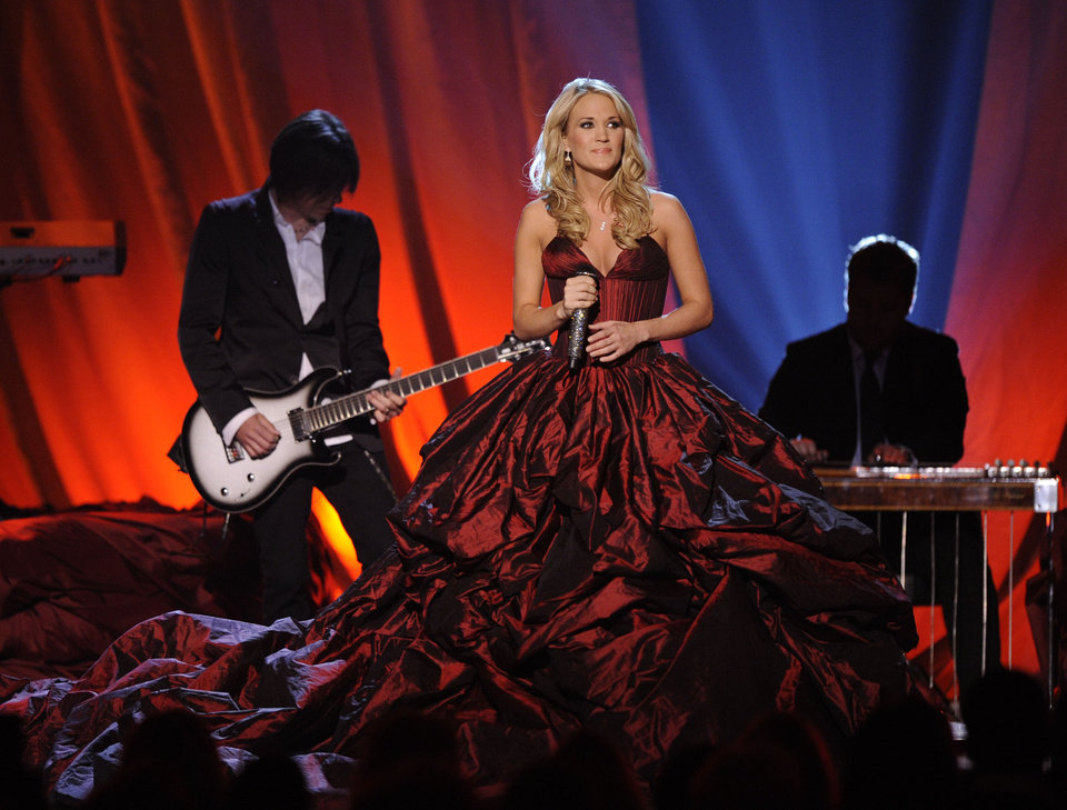 "Photo -  Carrie Underwood performs ""I Told You So"" at the 44th Annual Academy of Country Music Awards in Las Vegas on Sunday, April 5, 2009. (AP Photo/Mark J. Terrill) ORG XMIT: NVDC224"