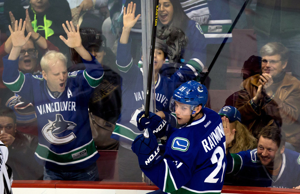 Vancouver Canucks' Mason Raymond celebrates his goal against the Los Angeles Kings during the second period of during the first period of an NHL hockey game in Vancouver, British Columbia on Saturday, March 2, 2013. (AP Photo/The Canadian Press, Darryl Dyck)