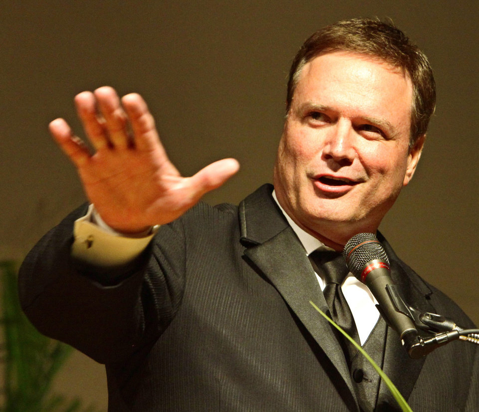 INDUCTION / INDUCT / INDUCTED: Oklahoma Sports Hall of Fame inductee Bill Self, Jr. speaking at the banquet, Monday, August 5, 2013. Photo by David McDaniel, The Oklahoman