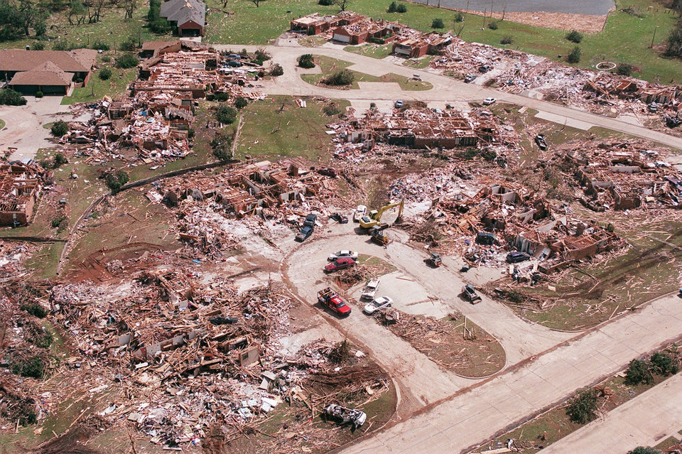 MAY 3, 1999 TORNADO: Tornado damage, aerial view: Housing addition in Moore just south of Westmoore High School.