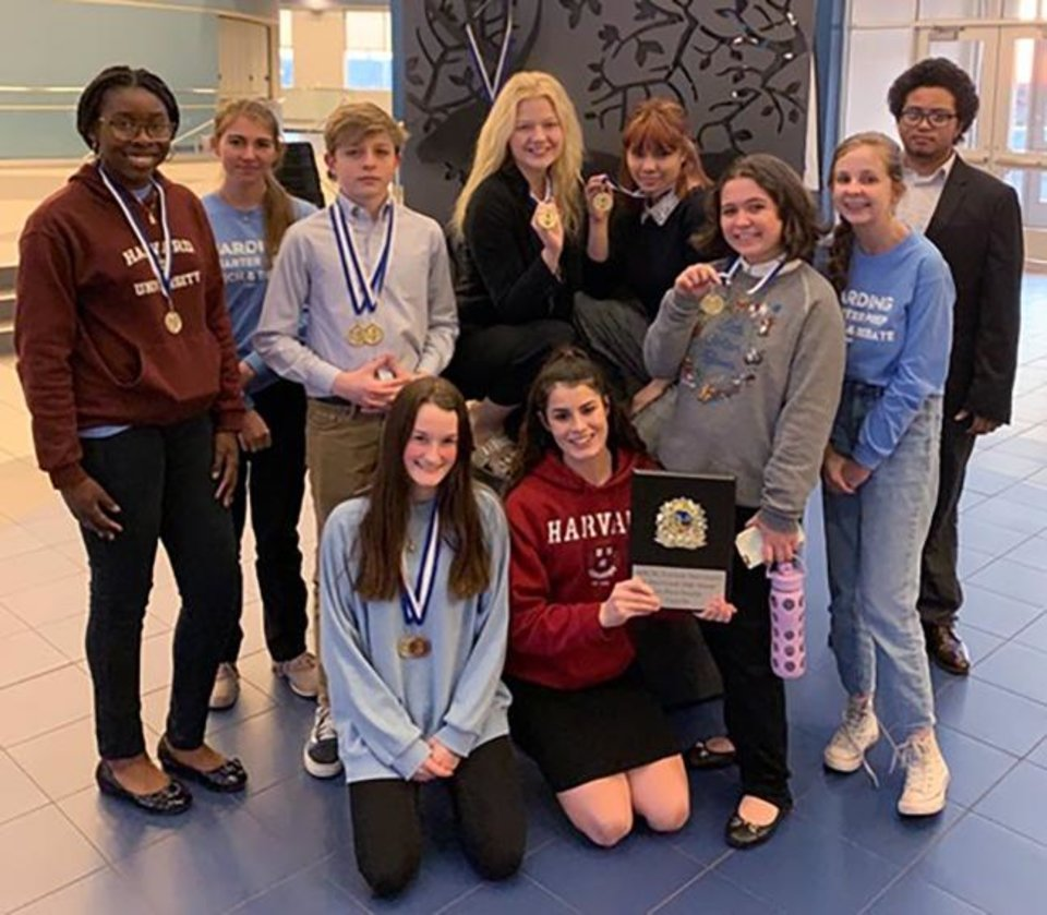 Photo -  Harding Charter Preparatory High School Speech and Debate Team members are, from left, Victoria Peter, Amelia Cruz, Carson Hans, Faith Morrison and Reyna Sun.  Second row, from left, are Avery Robinson, Anne Martin, Megan Surbeck, Cameryn O'Dell and Romello Richardson. [PHOTO PROVIDED]