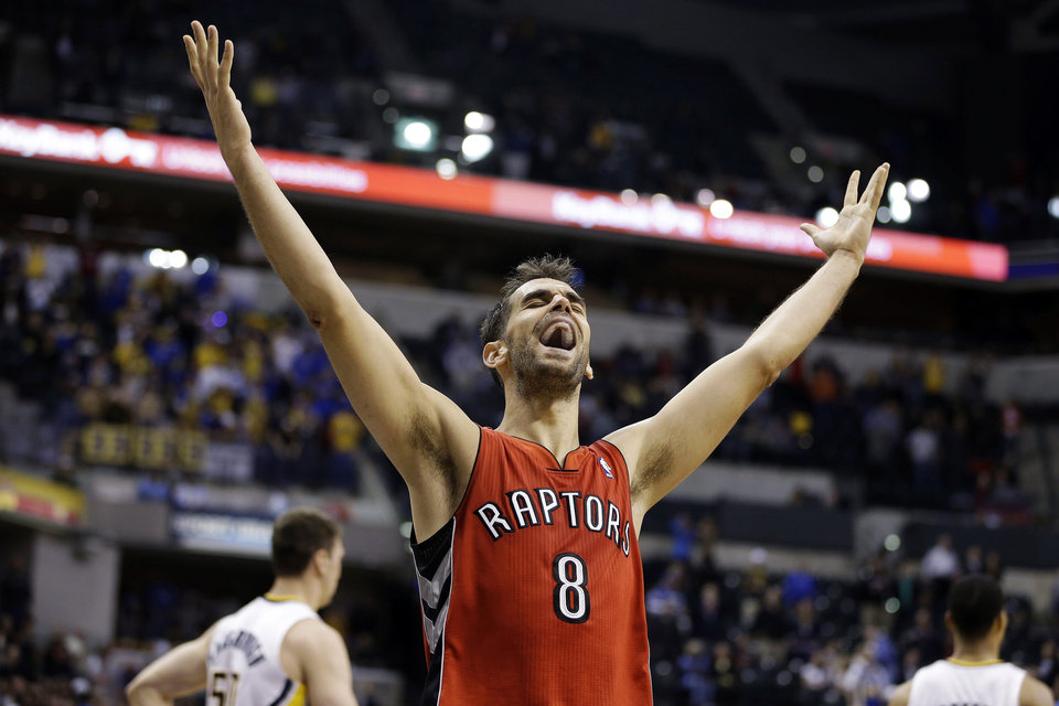 Toronto Raptors' Jose Calderon reacts after their 74-72 win over the Indiana Pacers in an NBA basketball game, Tuesday, Nov. 13, 2012, in Indianapolis. (AP Photo/Darron Cummings)