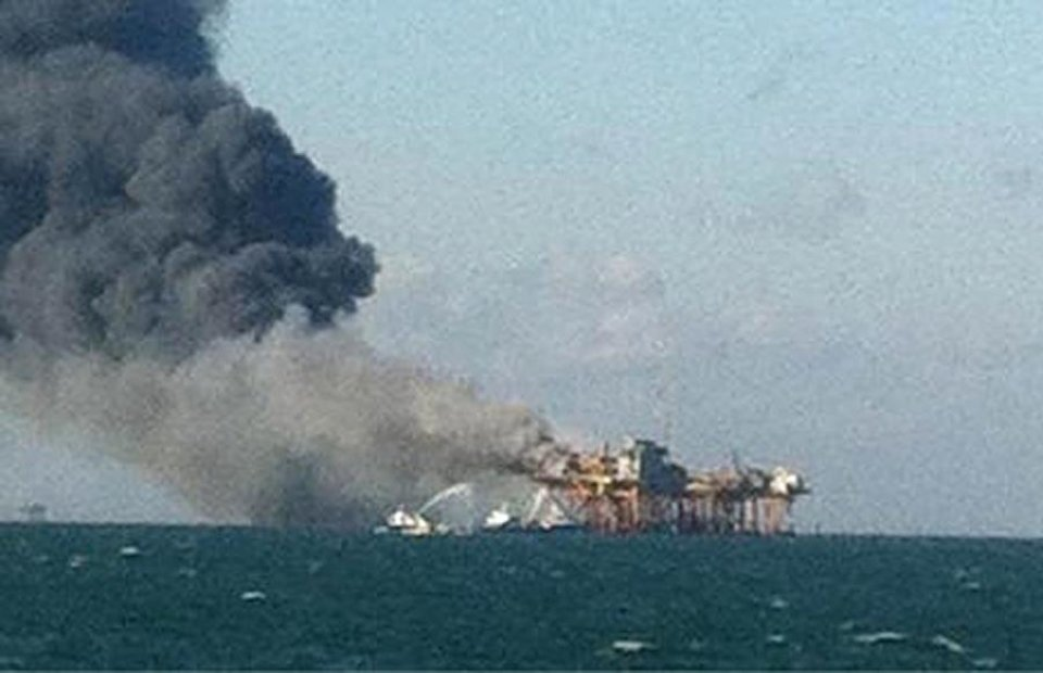 Photo -   In this image released by a oil field worker and obtained by the Associated Press, a fire burns on a Gulf oil platform Friday, Nov. 16, 2012, after an explosion on the rig, in the Gulf of Mexico off the Louisiana coast. An explosion and fire ripped through a Gulf oil platform Friday as workers used a cutting torch, sending at least four people to a hospital with burns and leaving two missing in waters off Louisiana. (AP Photo)