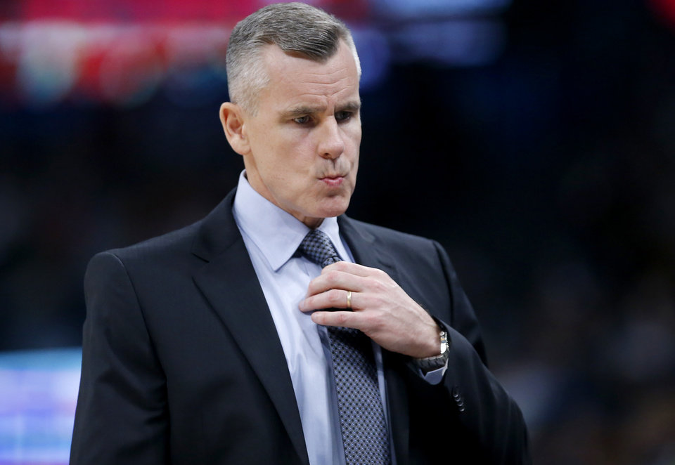Photo - Oklahoma City head coach Billy Donovan reacts during a time out during the NBA game between the Oklahoma City Thunder and the Memphis Grizzlies at the Chesapeake Energy Arena in Oklahoma City, Thursday, Dec. 26, 2019.  Oklahoma City loss to Memphis 110-97. [Sarah Phipps/The Oklahoman]