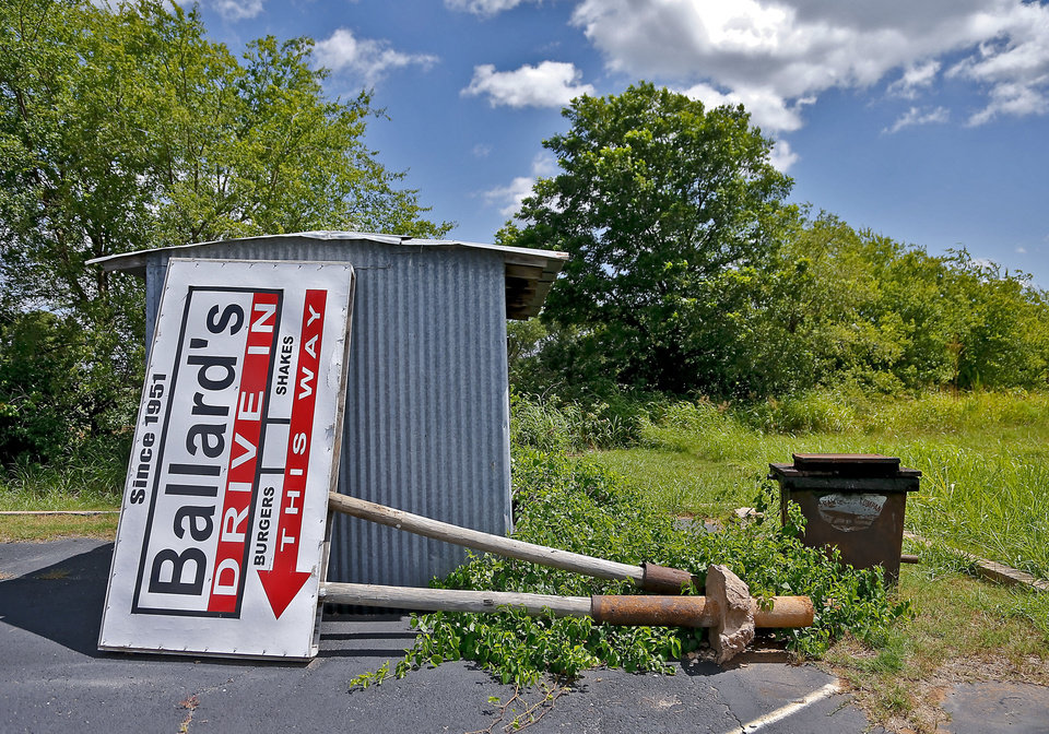 An old Ballard's Drive-In sign sit by a shed located in Pauls Valley, Okla. Monday, July 16, 2012.   Photo by Chris Landsberger, The Oklahoman