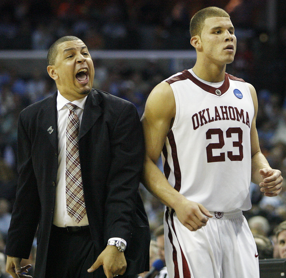 Oklahoma coach Jeff Capel reacts as Blake Griffin comes off the court at the end of the Sooners 84-71 win over Syracuse during the second half of the NCAA Men's Basketball Regional at the FedEx Forum on Friday, March 27, 2009, in Memphis, Tenn.PHOTO BY CHRIS LANDSBERGER, THE OKLAHOMAN