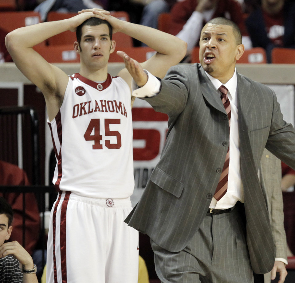 OU head coach Jeff Capel reacts to a call as Beau Gerber (45) looks on in the first half during the men's college basketball game between the Oklahoma Sooners and Texas A&M Aggies at Lloyd Noble Center in Norman, Okla., Saturday, March 6, 2010. Photo by Nate Billings, The Oklahoman