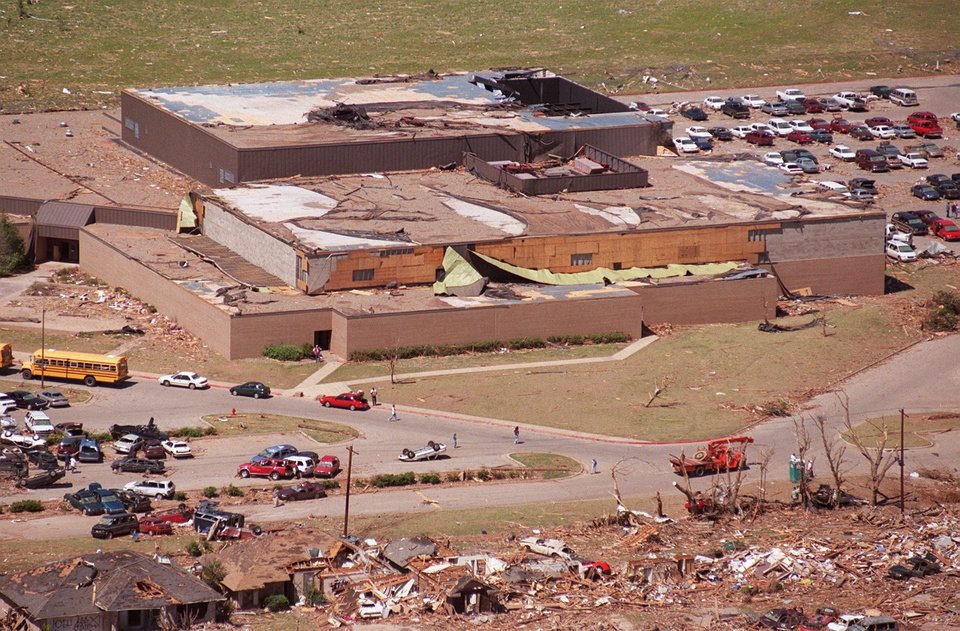 Tornado damage, aerial view: Westmoore High School in Moore.