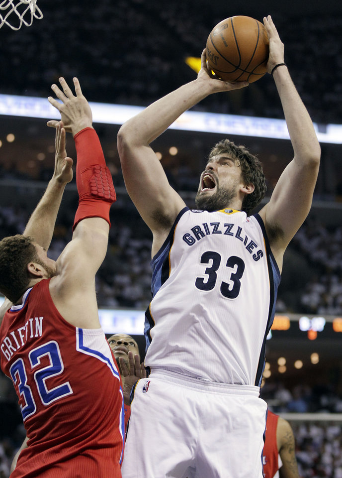 Photo -   Memphis Grizzlies center Marc Gasol (33), of Spain, shoots over Los Angeles Clippers forward Blake Griffin (32) in the second half of Game 5 of a first-round NBA basketball playoff series on Wednesday, May 9, 2012, in Memphis, Tenn. The Grizzlies won 92-80. (AP Photo/Mark Humphrey)