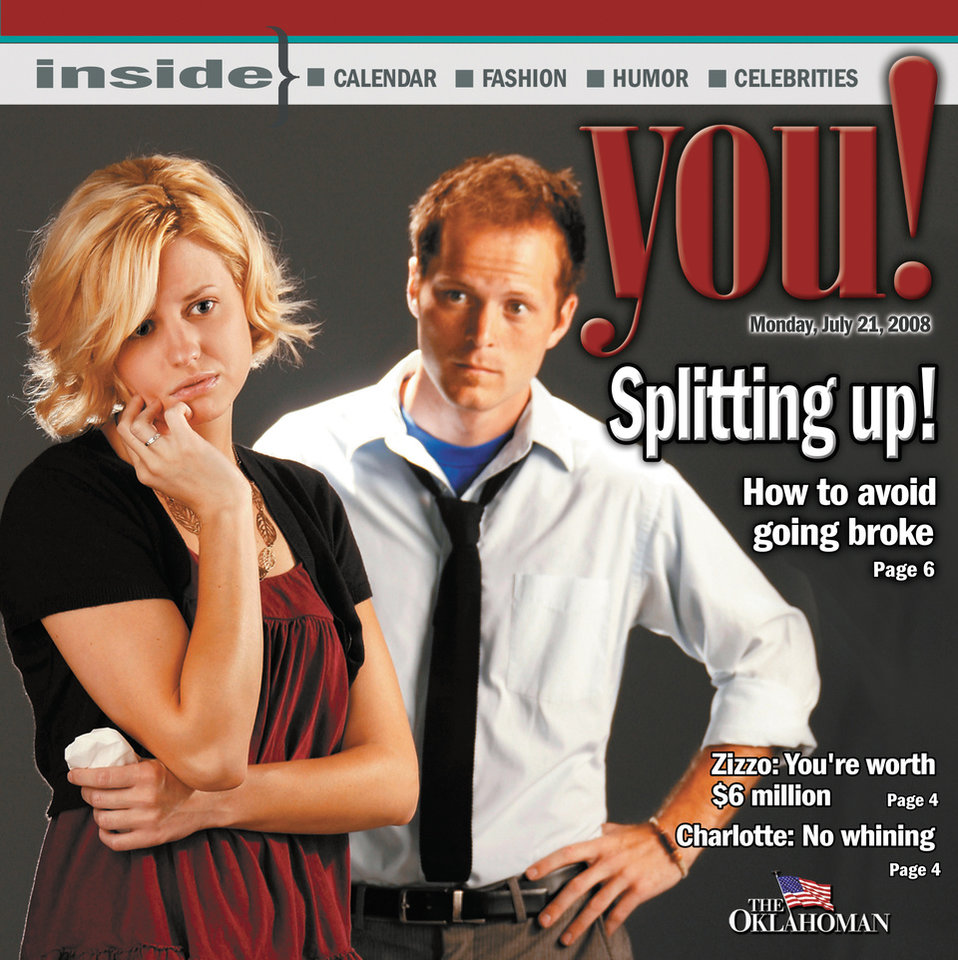 Photo - Graphic with photo: Splitting up! (photo of husband and wife) - Photo: Jim Beckel; Cover design: Steve Boaldin; YOU model in the studio, Monday, July 14, 2008.   Cover models:  Casey Greaves and Kyle Roberts 