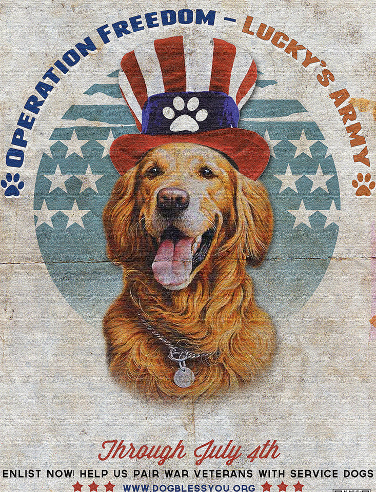 Photo - This illustration provided by Explore.org, shows a poster featuring philanthropist Charlie Annenberg's golden retriever, Lucky. Since 2011, the dog war poster has been the unofficial symbol for the Dog Bless You campaign providing companion and service dogs to returning soldiers who suffer from post-traumatic stress disorder. (AP Photo/Explore.org)