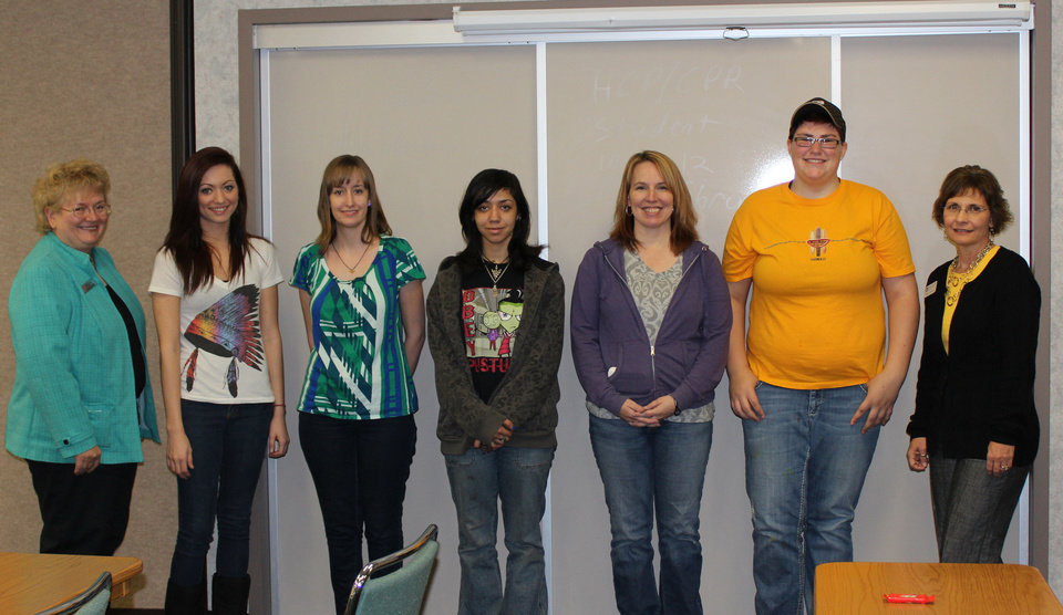 Girl Tech students at Canadian Valley Technology Center are pictured with Oklahoma Career Information System for the Oklahoma Department of Career and Technology Education Director Jo Kahn, left. Students are, from left, Taylor White, of Mustang; Hayley Rader, of Yukon; Marina Mason, of Calumet; Candis Ryczkowski, of Mustang; and Baylee Sowards, of Yukon. Shelli Chipman, Canadian Valley�s Girl Tech co-coordinator, is shown at right. Photo by Bill Kramer, for the Oklahoman