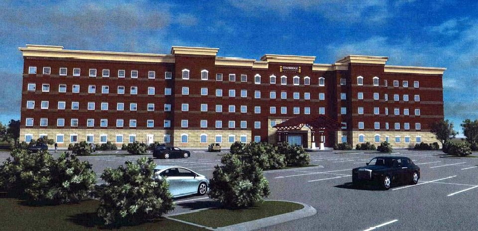 Photo -  Construction for a Staybridge Suites has started at Lincoln and Reno Avenues in Bricktown and is shown in this drawing. Drawing provided   peter_000