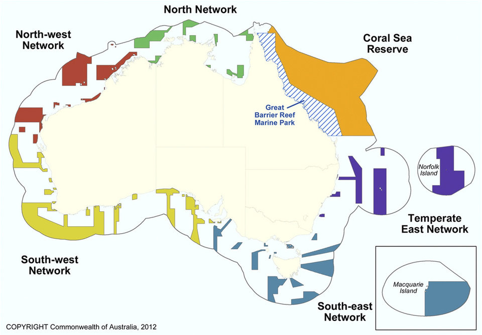 Photo -   This graphic released by Department of Sustainability, Environment, Water, Population and Communities shows the proposed Commonwealth marine reserves areas around Australia. Australia announced Thursday, June 14, 2012, the creation of the world's largest network of marine reserves covering 3.1 million square kilometers (1.2 million square miles) of ocean including the entire Coral Sea. Environment Minister Tony Burke said the government expects to pay an estimated 100 million Australian dollars ($100 million) to the fishing industry in compensation for the new restrictions on their operations that will take effect late this year. (AP Photo/Department of Sustainability, Environment, Water, Population and Communities)
